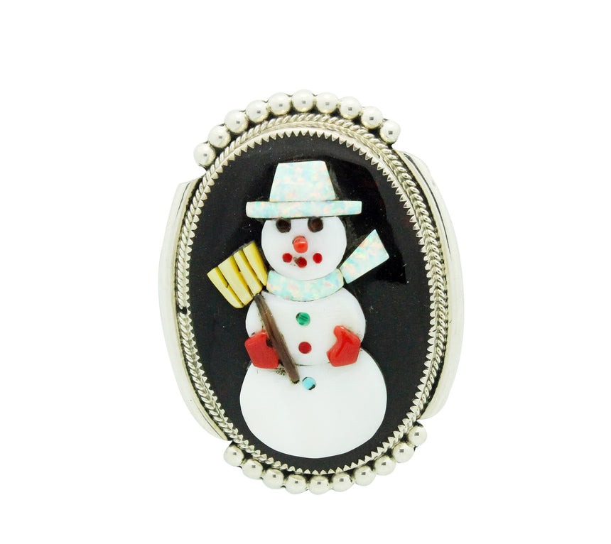 Beverly Etsate, Pin, Pendant, Multi Stone, Christmas Snowman, Zuni Made, 2.25