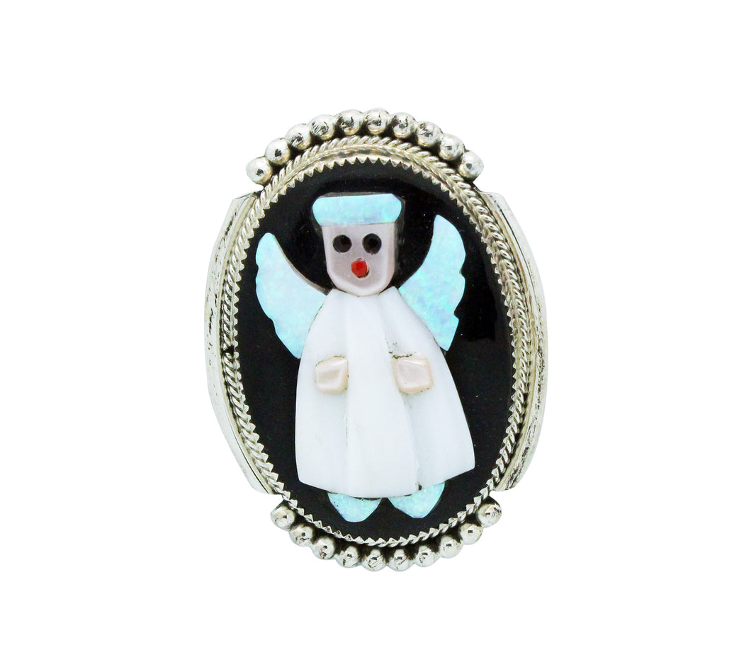 Beverly Etsate, Christmas Pin, Pendant, Multi Stone, LG Angel, Zuni Made, 2.25