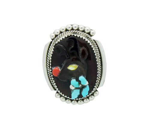 Beverly Etsate, Christmas Pin, Pendant, Multi Stone, Rudolph, Zuni Made, 1.5