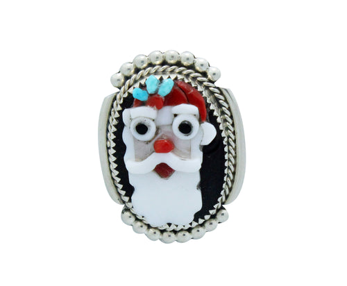 Beverly Etsate, Christmas Pin, Pendant, Multi Stone, SM Santa Clause, Zuni, 1.5