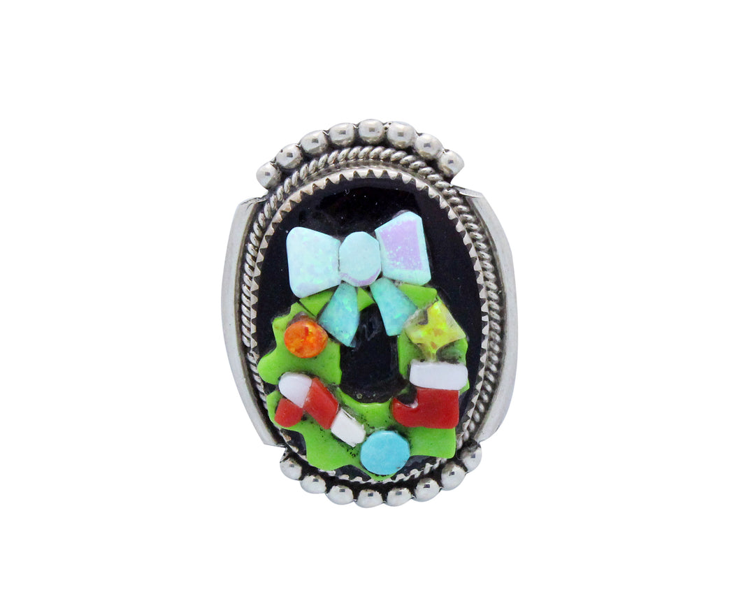 Beverly Etsate, Christmas Pin, Pendant, Multi Stone, SM Wreath, Zuni Made, 1.5