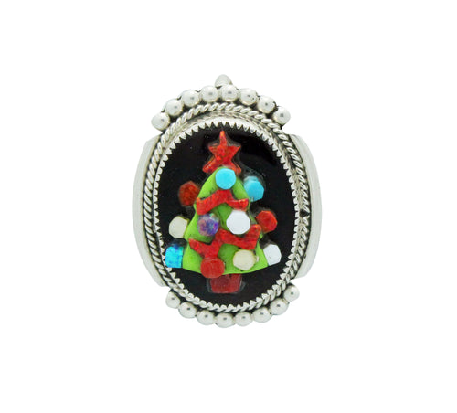 Beverly Etsate, Pin, Pendant, Multi Stone, SM Christmas Tree, Zuni Made, 1.5