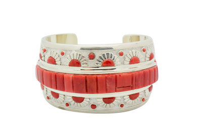Load image into Gallery viewer, Michael Perry, Bracelet, Oxblood Coral, Inlay, Silver, Navajo Handmade, 6.5