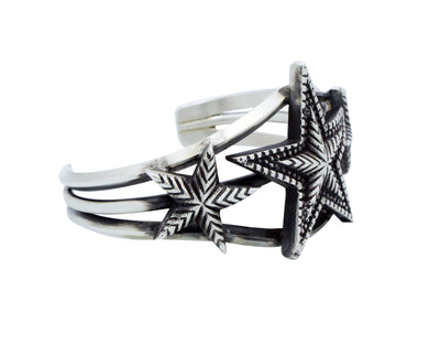 Load image into Gallery viewer, Julian Chavez, Bracelet, Star Design, Stamping, Silver, Navajo Handmade, 7""