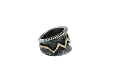 Load image into Gallery viewer, Aaron Anderson, Ring, 14k Gold, Sterling Silver, Lightning, Navajo Handmade, 9