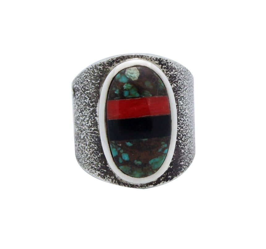 Kelsey Jimmie, Ring, Turquoise, Jet, Coral, Silver, Tufa, Navajo Handmade, 8.5