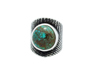 Load image into Gallery viewer, Kelsey Jimmie, Ring, Cuttle Bone, Cheyenne Turquoise, Navajo Handmade, 8.5