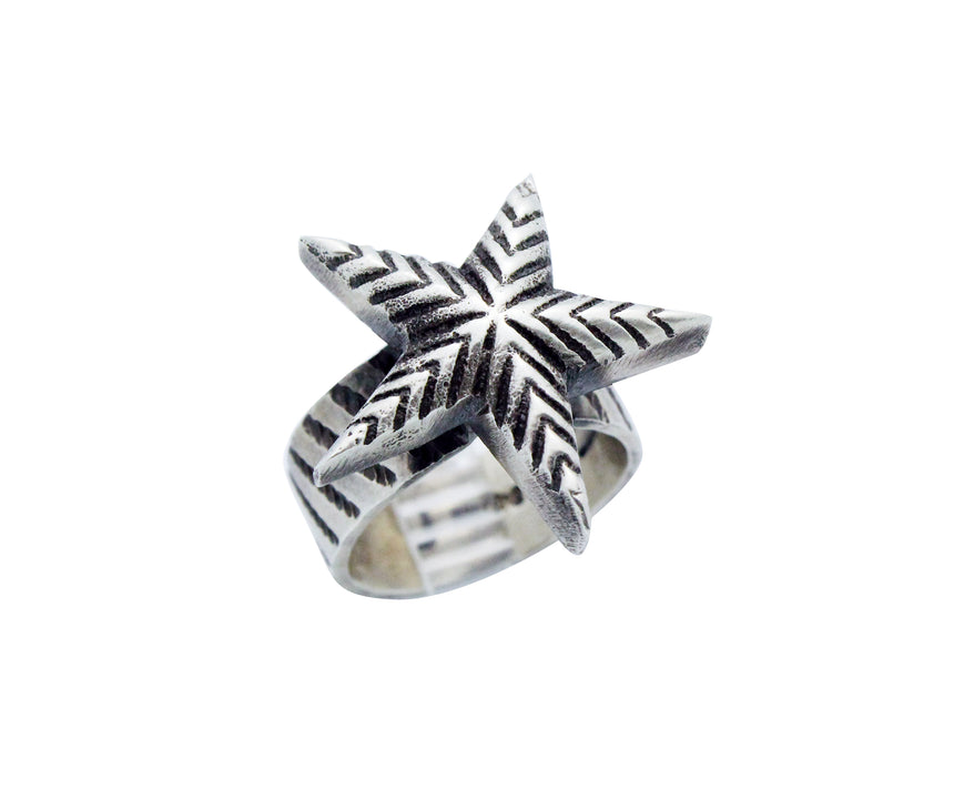 Julian Chavez, Ring, Star Design, Stamping, Sterling Silver, Navajo Made, 8