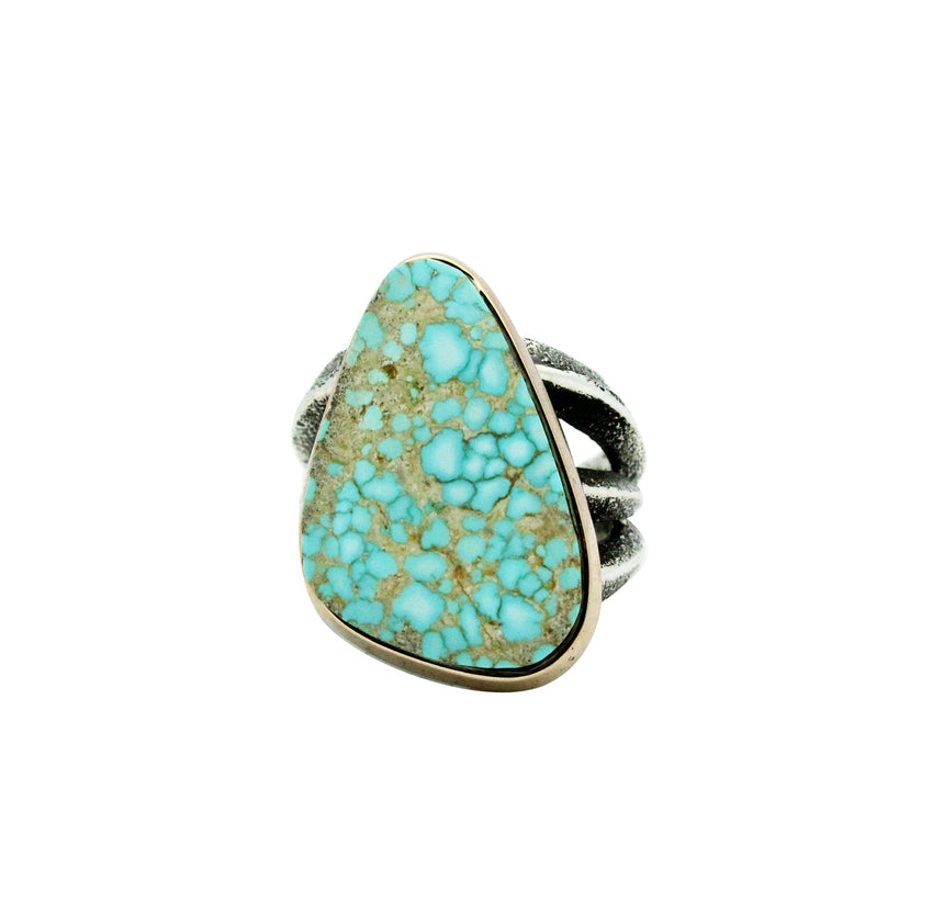 Aaron Anderson, Ring, 14k Gold, Silver, Number Eight Turquoise, Navajo, 8