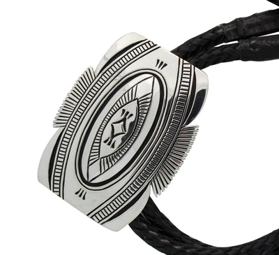 Load image into Gallery viewer, Kary Begay, Bolo, Overlay Design, Sterling Silver, Navajo Handmade, 46""