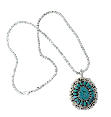 Load image into Gallery viewer, Justin Wilson, Pendant, Kingman Turquoise, Cluster, Navajo Made, W/ Chain, 24