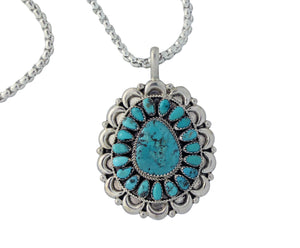 Justin Wilson, Pendant, Kingman Turquoise, Cluster, Navajo Made, W/ Chain, 24