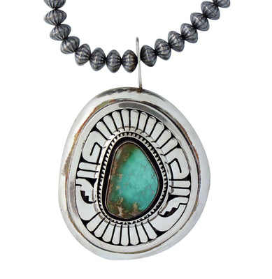 Load image into Gallery viewer, Leonard Nez, Necklace, Silver Beads, Royston Turquoise, Navajo Handmade, 18.75