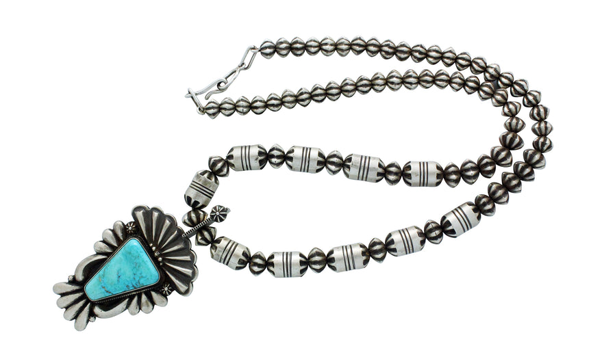 Thomas Jim, Necklace, Morenci Turquoise, Fluted Silver Beads, Navajo Made, 23.5