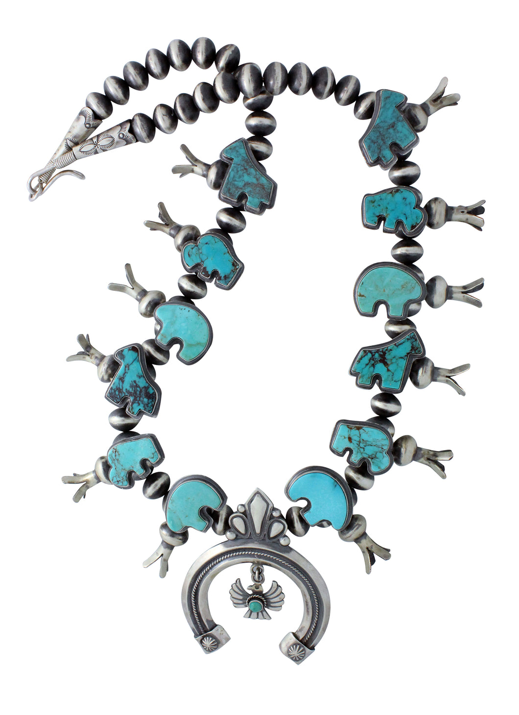 Delayne Reeves, Necklace, Spirit Animals, Silver Beads, Navajo Handmade, 27.5