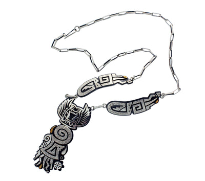Load image into Gallery viewer, Ruben Saufkie, Necklace, Crow Mother, Silver Overlay, Hopi Handmade, 24