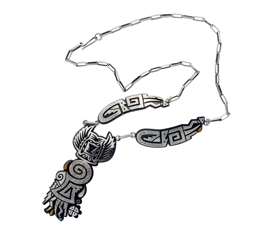 Ruben Saufkie, Necklace, Crow Mother, Silver Overlay, Hopi Handmade, 24