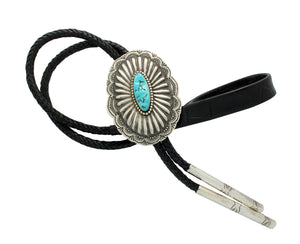 Rita Lee, Bolo, Sleeping Beauty Turquoise, Stamping, Silver, Navajo Made, 44.5