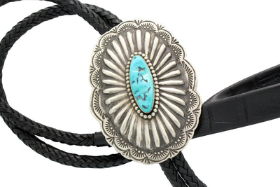 Load image into Gallery viewer, Rita Lee, Bolo, Sleeping Beauty Turquoise, Stamping, Silver, Navajo Made, 44.5