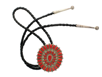 Load image into Gallery viewer, Lorraine Waatsa, Bolo Tie, Cluster, Mediterranean Coral, Silver, Zuni Made, 36