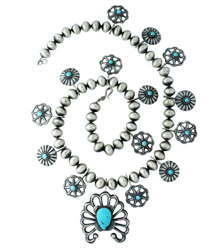 Linda Marble, Necklace, Earrings, Sandcast, Turquoise, Navajo Handmade, 30