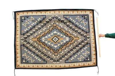 "Load image into Gallery viewer, Alice Whitewater, Two Grey Hills, Rug, Navajo, Handwoven, 52"" x 71"""