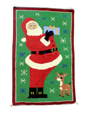 "Load image into Gallery viewer, Wenora Joe, Christmas Pictorial, Rug, Navajo, Handwoven, 48"" x 40"""