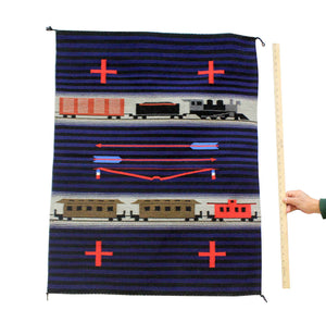 "LeRoy Yazzie, Train Pictorial, Chief Pattern, Navajo, Handwoven, 30"" x 38"""