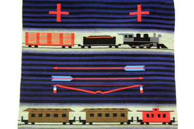 "Load image into Gallery viewer, LeRoy Yazzie, Train Pictorial, Chief Pattern, Navajo, Handwoven, 30"" x 38"""