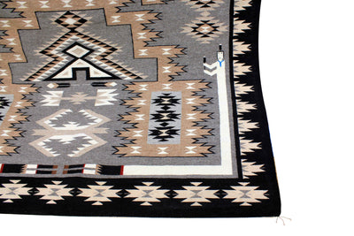 "Load image into Gallery viewer, Circa 1980s, Navajo Handwoven Rug, Storm Pattern, Private Collection, 118"" x 88"""