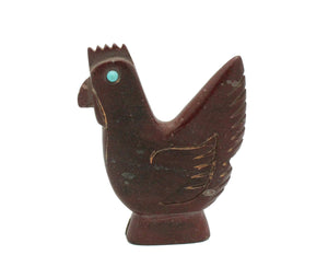 Albert Eustace, Rooster Fetish, Pipe Stone, Turq, Handcarved, Zuni, 2.25
