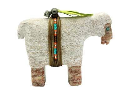 Load image into Gallery viewer, Harold Davidson, Sheep Fetish, Alabaster, Turquoise, Navajo, 3