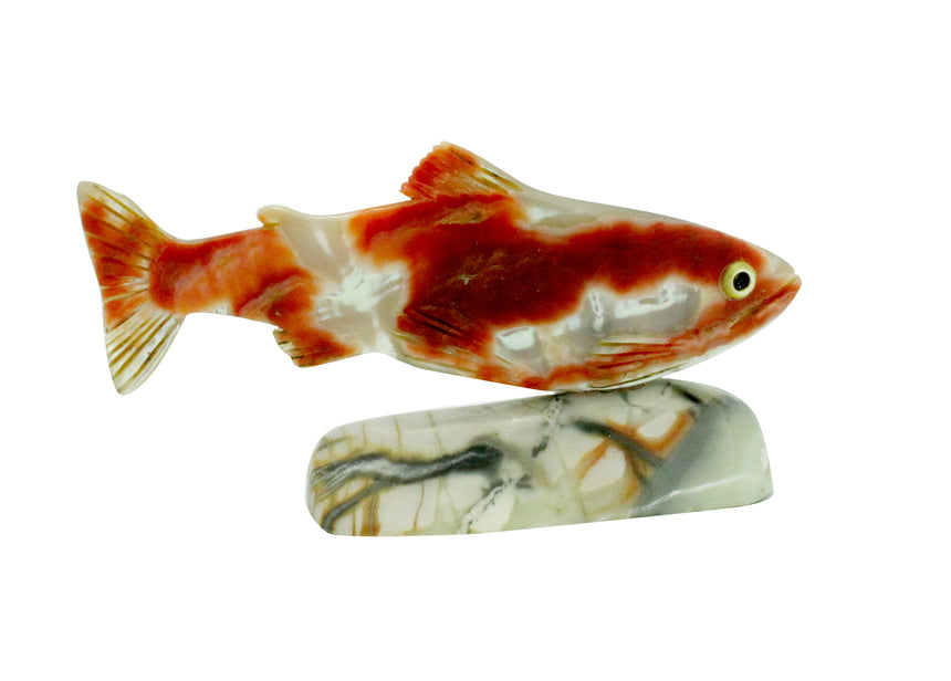 Jerone Tsalabutie, Fish Fetish, Shell, Marble, Zuni, 1.75