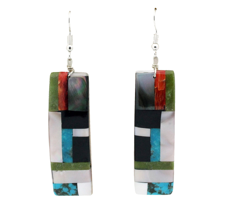 Bryan Tom, Inlay Earrings, Sterling French Hooks, Multi Stone, Handmade, 3