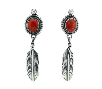 Load image into Gallery viewer, Freddie Maloney, Earrings, Apple Coral, Eagle Feather, Navajo Handmade, 2.75