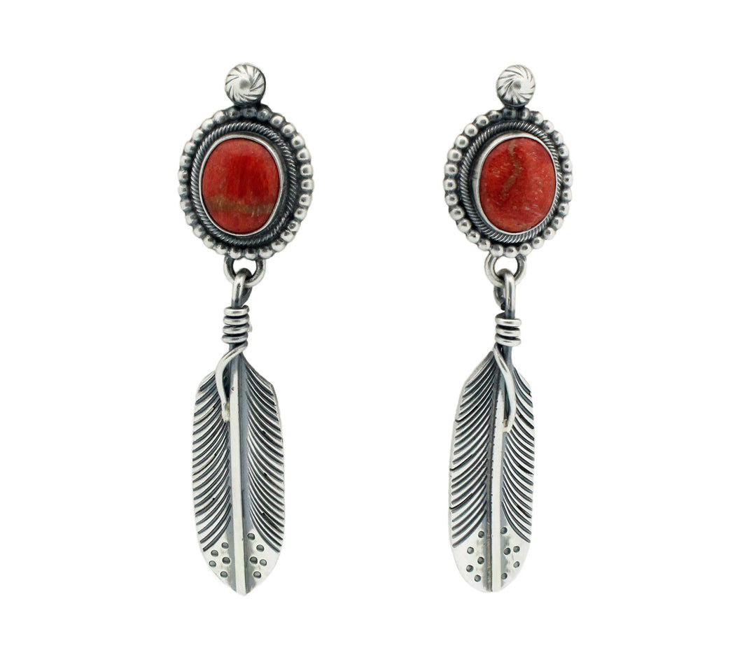 Freddie Maloney, Earrings, Apple Coral, Eagle Feather, Navajo Handmade, 2.75