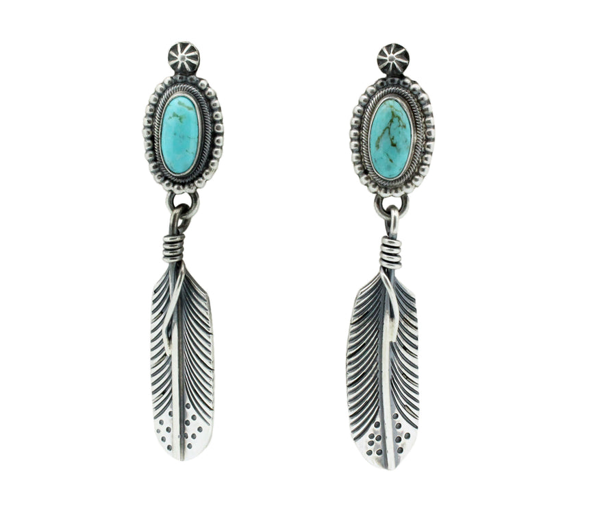 Freddie Maloney, Earrings, Turquoise, Feather, Silver, Navajo Handmade, 2.75