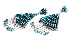 Bernadette Wyaco, Earrings, Sleeping Beauty Turquoise, Cluster, Zuni Made, 3.5