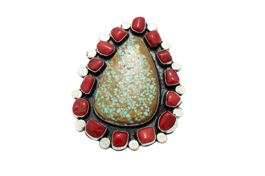 Joelias Draper, Ring, Cluster, Turquoise Mountain, Coral, Navajo Handmade, 10.5