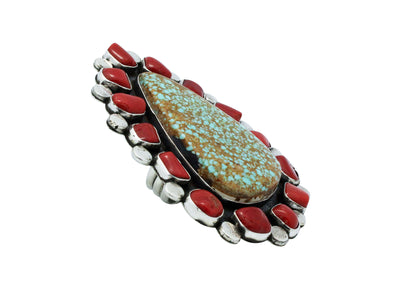 Load image into Gallery viewer, Joelias Draper, Ring, Cluster, Turquoise Mountain, Coral, Navajo Handmade, 10.5