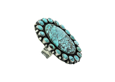 Load image into Gallery viewer, Sean Cayatineto, Ring, Blue Turquoise, Cluster, Silver, Navajo Handmade, 10