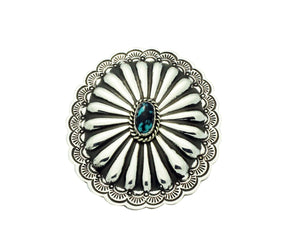 Arnold Blackgoat, Ring, Burnham Turquoise, Large, Concho, Navajo Handmade, 7