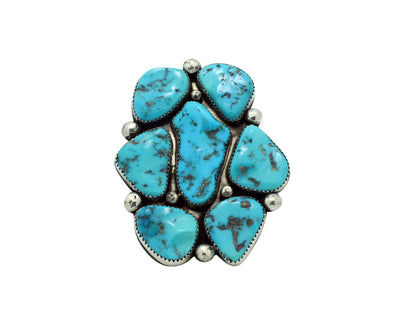 Load image into Gallery viewer, Joelias Draper, Ring, Sleeping Beauty Turquoise, Cluster, Navajo Handmade, 8