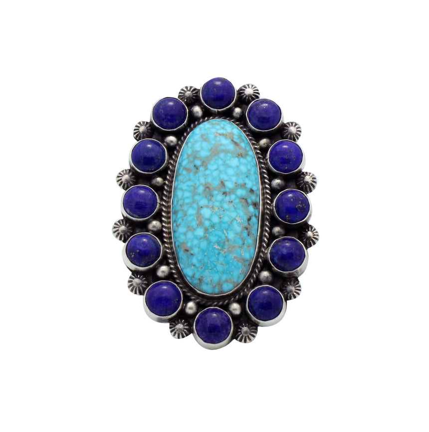Tyler Brown, Ring, Cluster, Turquoise, Lapis, Big Design, Navajo Handmade, 8.5