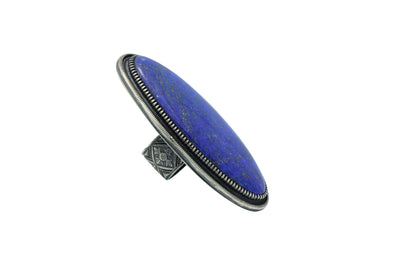 Load image into Gallery viewer, Floyd Parkhurst, Ring, Large, Lapis, Silver, Navajo Handmade, Adjustable