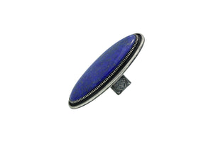 Floyd Parkhurst, Ring, Large, Lapis, Silver, Navajo Handmade, Adjustable