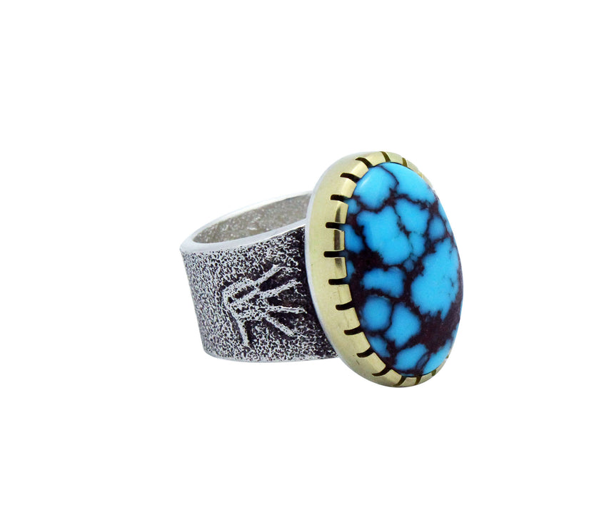Darryl Dean Begay, Ring, Egyptian Turquoise, 14k, Silver, Navajo Made, 10.5
