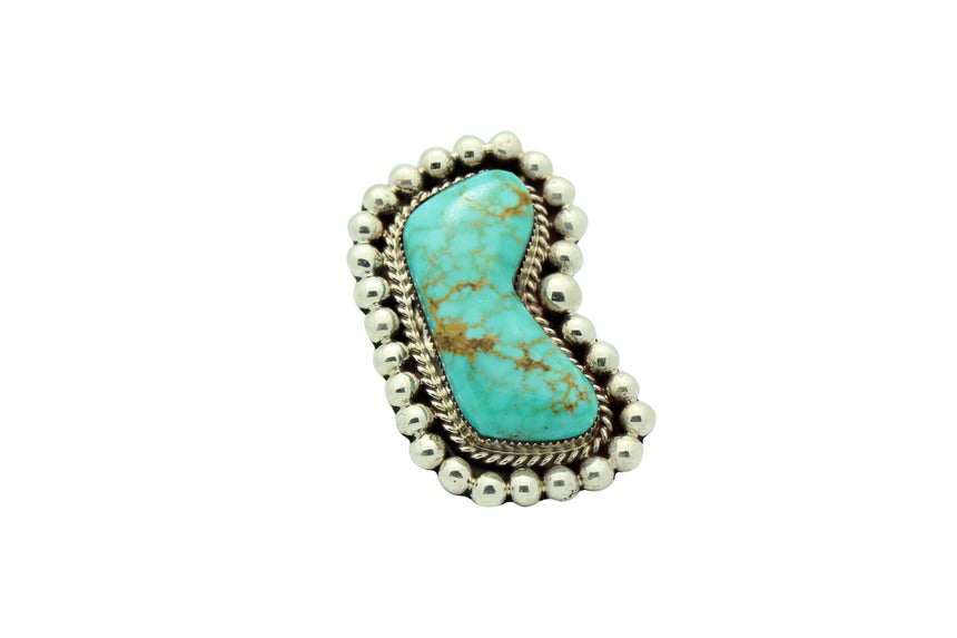 Ray Nez, Ring, Turquoise Mountain, Big, Sterling Silver, Navajo Handmade, 11
