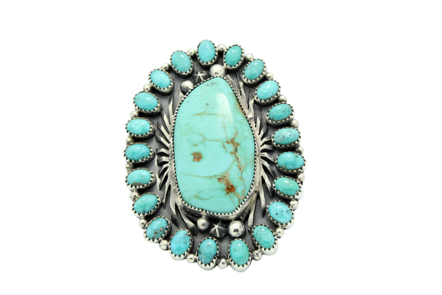 Marcus Chavez, Ring, Kingman Turquoise, Cluster, Silver, Navajo Handmade, 9