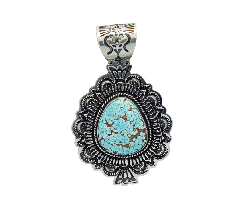 Darrell Cadman, Pendant, Number Eight Turquoise, Silver, Navajo Handmade, 2.25